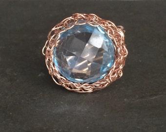 Blue Topaz Rose Gold Crochet Ring