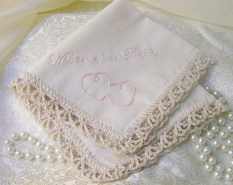 Mother of the Bride Handkerchief, Hanky, Hankie, Embroidered, Personalized, Hand Crochet, Lace, Ecru, Pink, Ready to ship, Mom, Mother