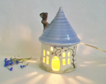 Garden Fairy House/ Night Light - with a  Light Blue Roof and Chimney - Wheel-Thrown Pottery - Hand Painted Vine - Ready to Ship/Options