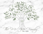 Family Tree *Small-less than 25 names** Marble background (.JPEG FILE ONLY)