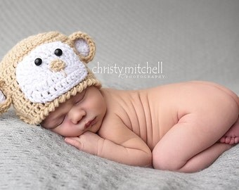 Boutique crochet Monkey hat newborn-24m,boy,girl