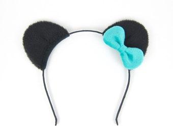 Panda Bear Headband Fluffy Black Bear Ears Headband with Bow