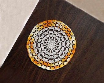 Mandala Decor Crochet Doily, Spiritual, Feng Shui Positive Energy, Home Decoration, Yellow, Gold, White Round Doily