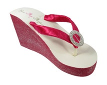Magenta Luxe Rhinestone Glittery Wedding Flip Flops, Ivory High or Low White Wedges with Custom Paint