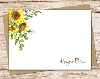 sunflowers note cards, notecards set . sunflowers stationery . watercolor sunflowers . flowers botanical . folded stationary . set of 8