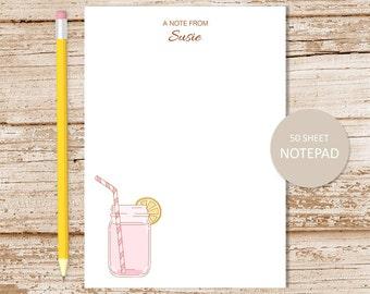 personalized pink lemonade notepad . lemonade note pad . mason jar notepad . personalized stationery . girls stationary