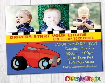 Cars Birthday Invitation Racing Party
