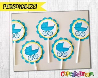 Baby Shower Carriage Cupcake Toppers