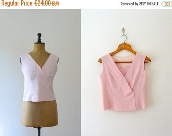 40% OFF SALE // Vintage silk top. 1960s pink top. v neck tank top