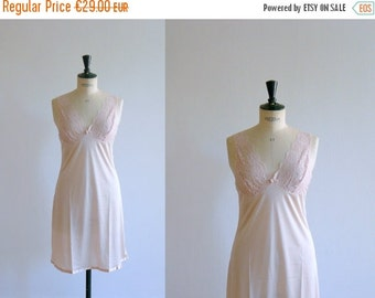 40% OFF SALE // Vintage slip dress. lace slip dress. 80s pale pink lace slip dress. deadstock lingerie