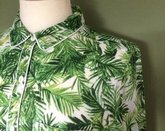 Botanical palm front pyjama style shirt (s)
