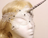 White Lace Unicorn Mask With Crystals and Glitter