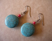 Turquoise Magnesite and Red Coral Earrings