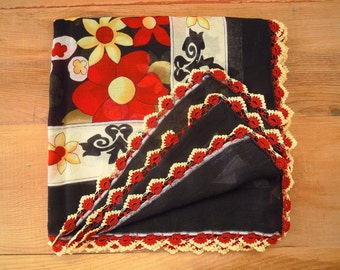 black cotton scarf, red yellow flower, crochet trim