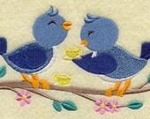 Flour Sack Towel / Quilt Block - Bluebirds Tea Party Embroidery Design