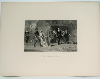 ETCHING-The Interrupted Duel Book Plate/Engraving by Marcus Stone-George Barrie, Publ.1890-Elizabethan Art