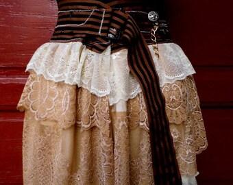 Skirt, bustle skirt, steampunk victorian, lace skirt, cream and white, jane austen, shabby chic, vampire, mori girl,women skirt,wedding,love