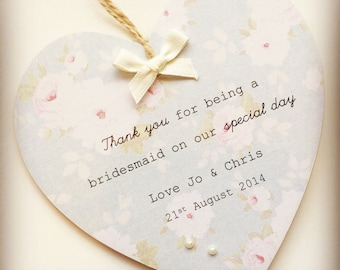 Personalised Handmade Wooden Bridesmaid Wedding Thank You Gift Plaque/Sign