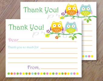 Owl Fill in Thank you Cards, Set of 10 Personalized Flat Cards with envelopes, Kids Thank You Cards, Children's Stationery
