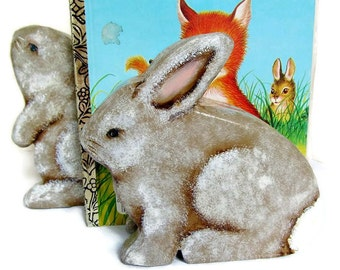 Childs Room Nursery Woodland Bunny Bookends Handpainted Non Toxic