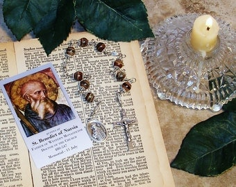 Unbreakable Catholic Novena Relic Chaplet of St. Benedict of Nursia - Patron Saint of  Students, People with Arthritis and Terminal Patients