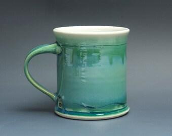 Pottery coffee mug, ceramic mug, stoneware tea cup jade green 14 oz 3488