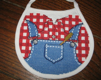 Country Overalls Finished Cross Stitched Baby Bib