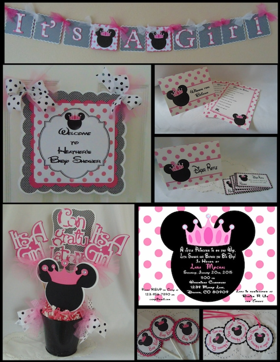 Minnie mouse baby shower party package shower decorations for Baby minnie mouse party decoration