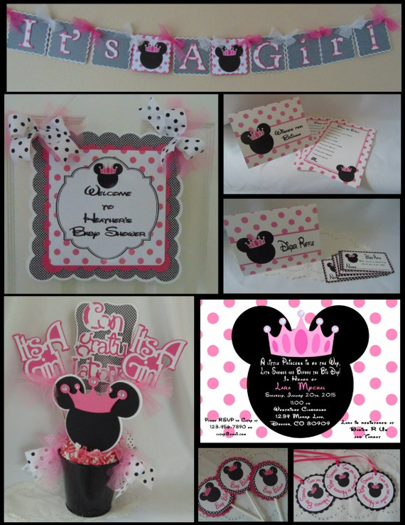 Minnie mouse baby shower party package shower decorations for Baby minnie mouse decoration ideas