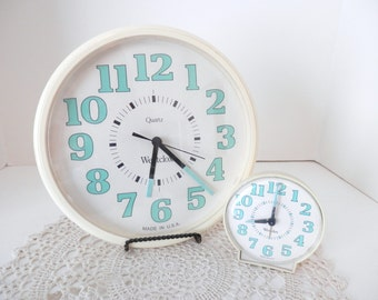 Vintage Westclox Clocks Set of Two - Alarm Clock - Quartz Wall Clock - Made in USA