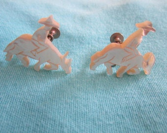Vintage Silver Tone White Shell Screw Back Earrings of Rider and Asian Ox