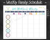 """Personalized Weekly Family Schedule 2016 Calendar or Chore Chart Printable PDF - 8.5"""" x 11"""" A4 Letter Size"""