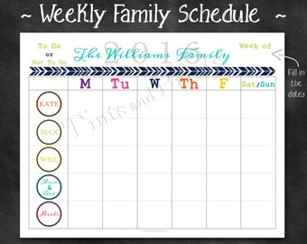 "Personalized Weekly Family Schedule 2016 Calendar or Chore Chart Printable PDF - 8.5"" x 11"" A4 Letter Size"