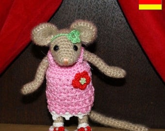 Amigurumi MOUSE - FEMALE crochet pattern, PDF in English, Deutsch