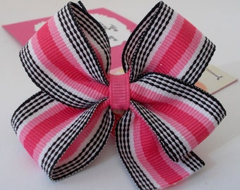 Ballerina Birthday Party Favors, Pink and Black Hair Bow on a Personalized Thank You Card with Dancing Ballerinas, Handmade in Atlanta, GA