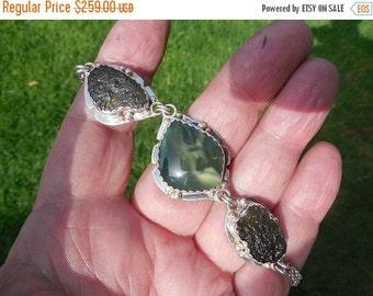 ON SALE Moldavite and jade bracelet in sterling silver