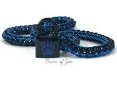 Unisex BDSM Slave Collar Bear Paw Print Submissive Collar Black & Cobalt Blue