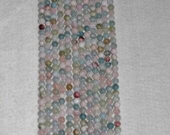 Bery, Multicolor Beryl, Morganite, Semi Precious, Smooth Bead, Strand, 8mm