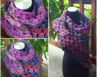 Hand Crochet Cowl Wrap in Purple and Blue Shades