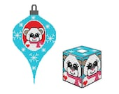 Plastic Canvas Snow Bear Ornament Wall Hanging and TB Cover Instant Download