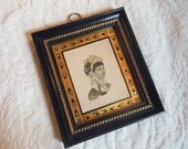 Reverse Painting Portrait Engraving Vintage by Quilted Nest