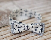 Baby bow tie - toddler bowtie - adjustable strap - nautical - anchors - navy & white - newborn - baby shower gift - boys - cotton - modern -