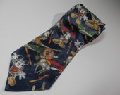 Disney (c) Mickey Unlimited Aviation Pilot Navy Blue Necktie Biplane Tie 100% Polyester Classic Wearable Art Fashion Character Novelty Gift