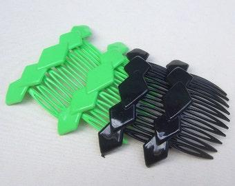 Vintage hair combs 4 mid century celluloid hair accessory, hair jewelry decorative comb hair pin hair pick (XXK)