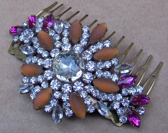 Vintage hair comb Czech rhinestone signed hair accessory headdress headpiece hair jewellery decorative comb AAA