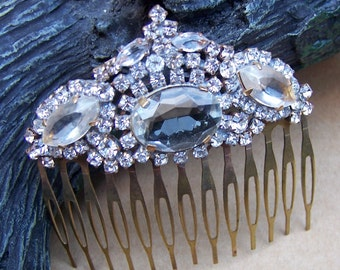 Vintage hair comb Czech rhinestone signed hair accessory headdress headpiece hair jewellery decorative comb AAK