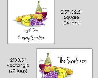 Personalized Wine Square OR Rectangle Enclsoure Cards