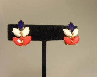 Up in the Grandstand - Vintage 1950's Mini Patriotic Red White Blue Glass Clip On Earrings