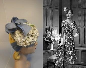 Upon Her Lovely Lavender Locks - Vintage 1940s Lavender Blue & Ivory Floral Tilt Topper Hat