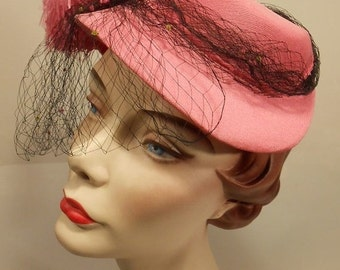 60% OFF Fun Mistakes Are Often Made  - 1950s Rose Pink Half Hat Fascinator w/Doubled Veil & Large Plume